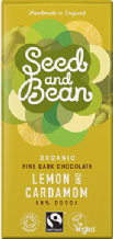 Seed & Bean Organic Lemon & Cardamom Dark Chocolate 85g
